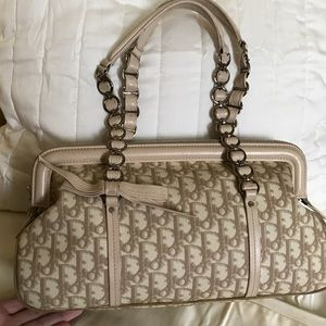 Dior Beige Coated Canvas Trotter Frame Bag w/Bow